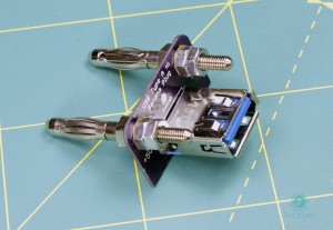 Double-banana plug to USB Type A adapter top view